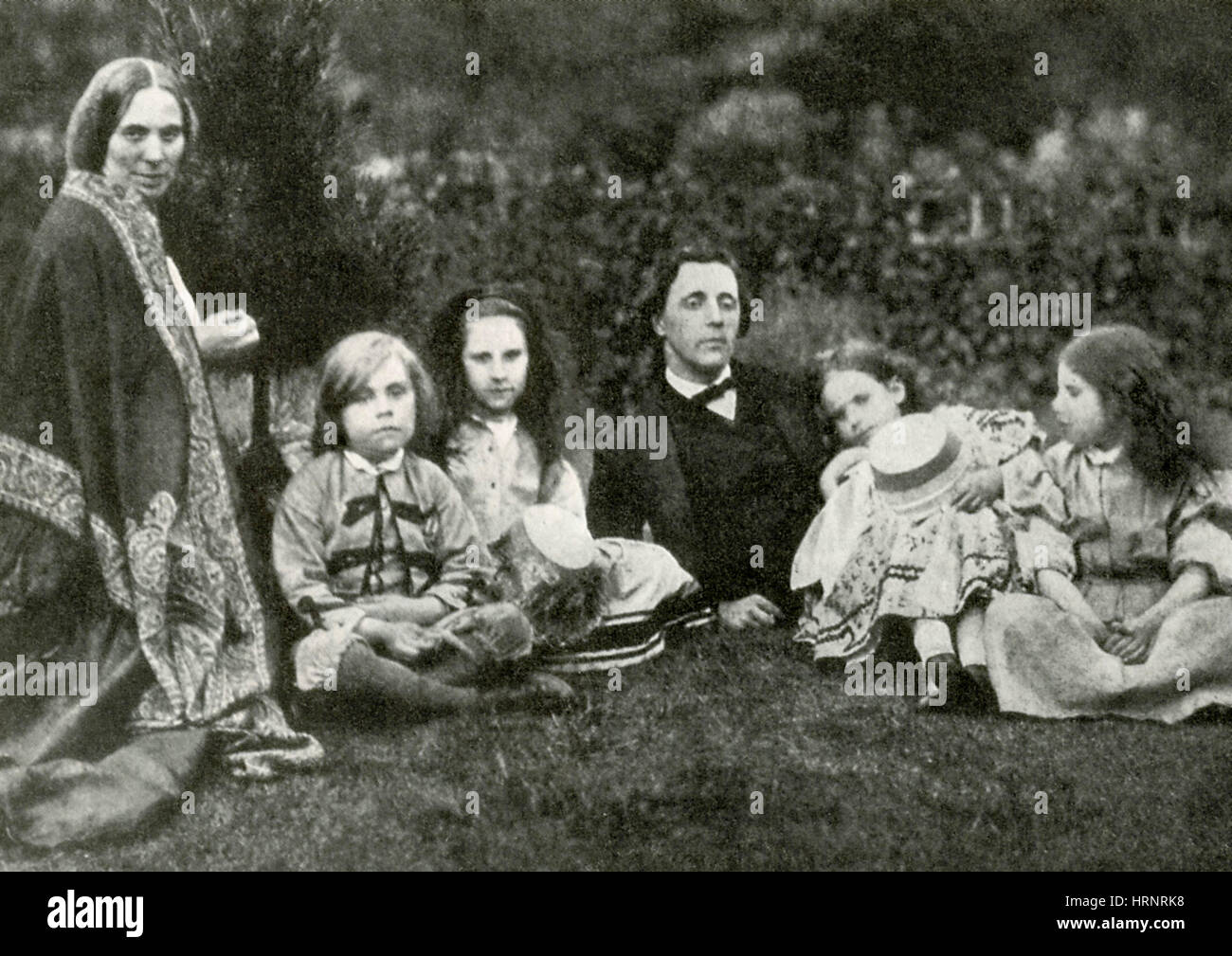 Lewis Carroll, Mrs. George Macdonald & Children - Stock Image