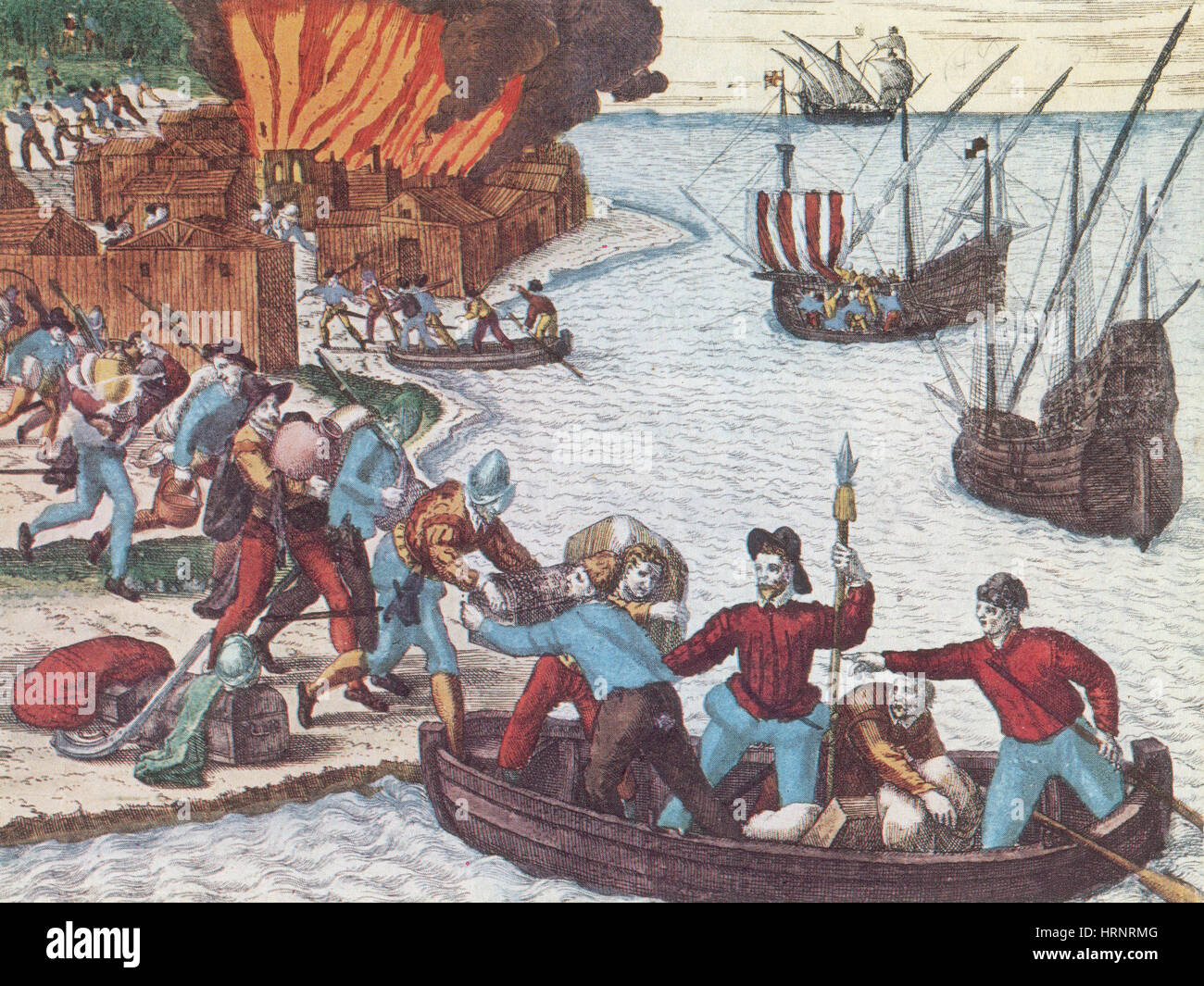 Pirates Burn Havana, 1555 - Stock Image