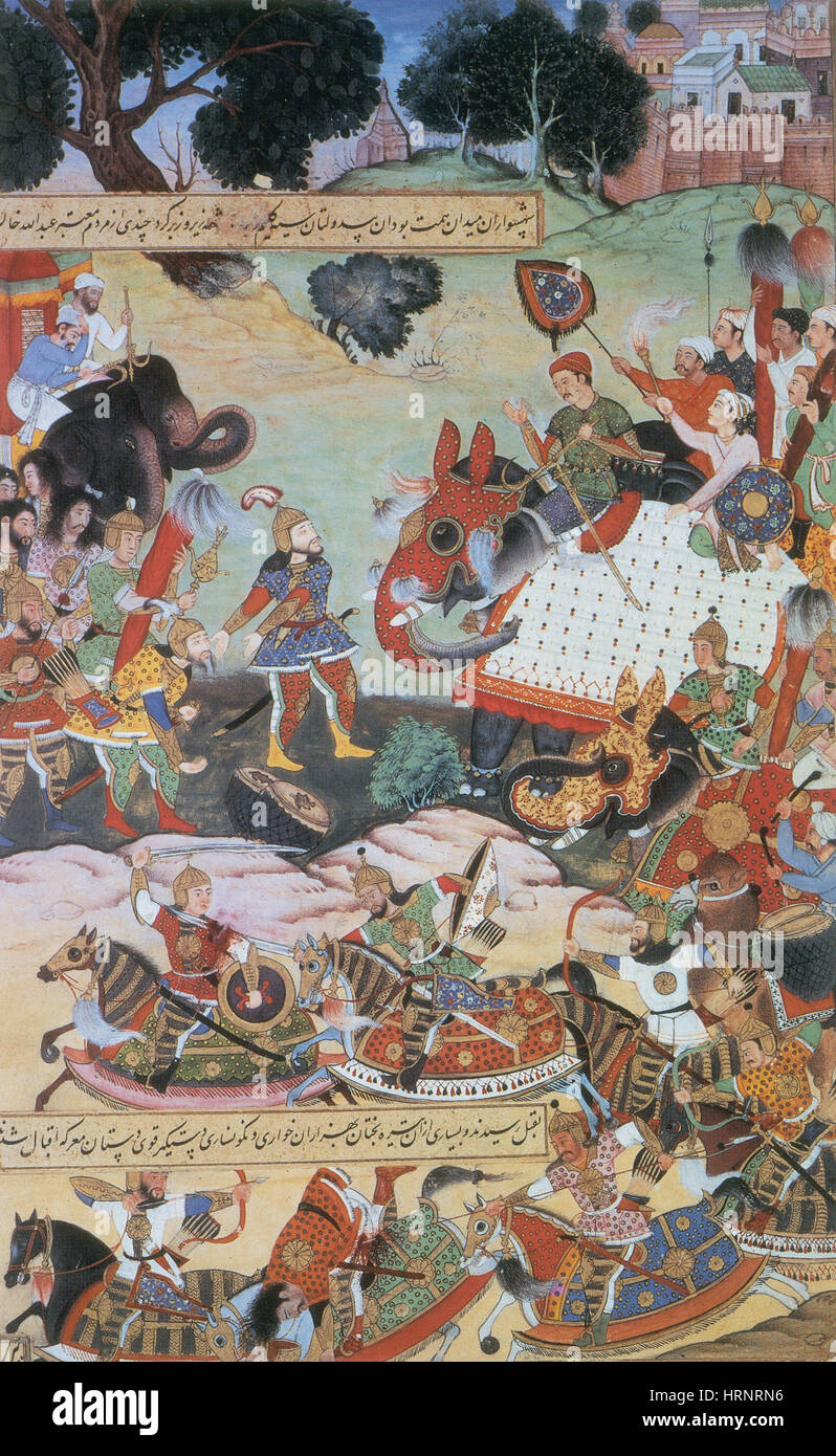 Akbar Receiving Captured Drums and Standards, 1564 - Stock Image