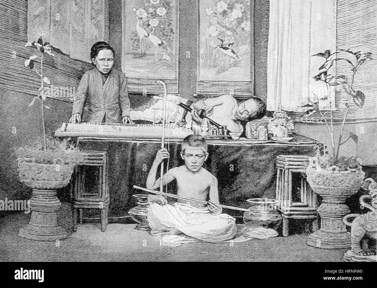 Chinese Opium Den, 1899 - Stock Image