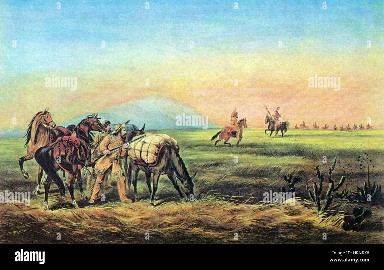 Frontiersmen and Native American Indians, 1800s - Stock Image