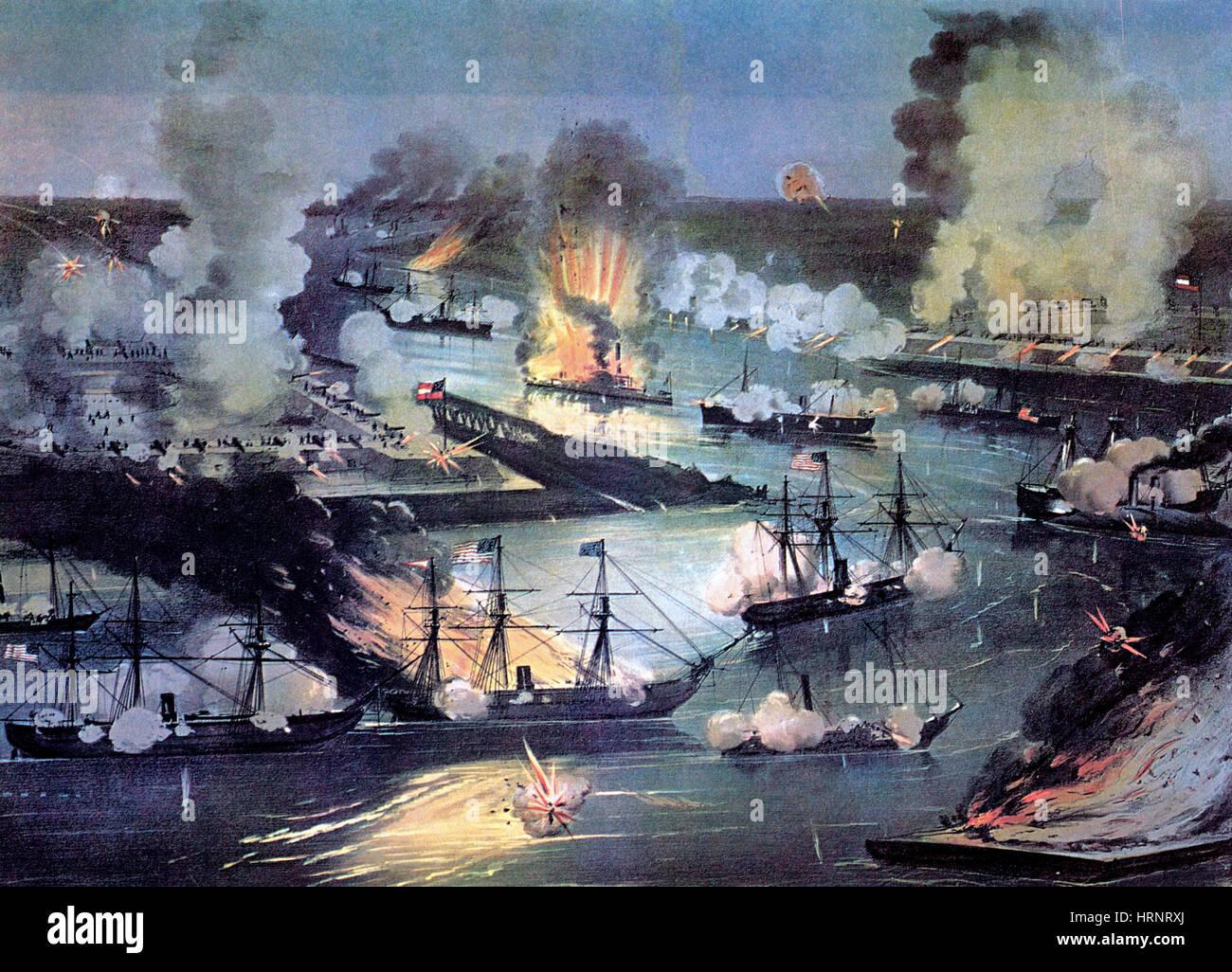 U.S. Navy Destroys Rebel Gunboats, Civll War, 1862 - Stock Image