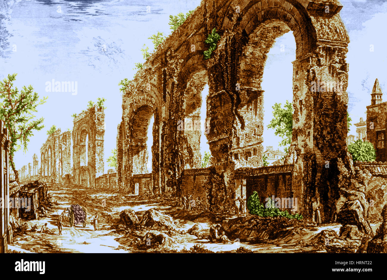 Ruins of Roman Aqueduct, 18th Century Etching - Stock Image