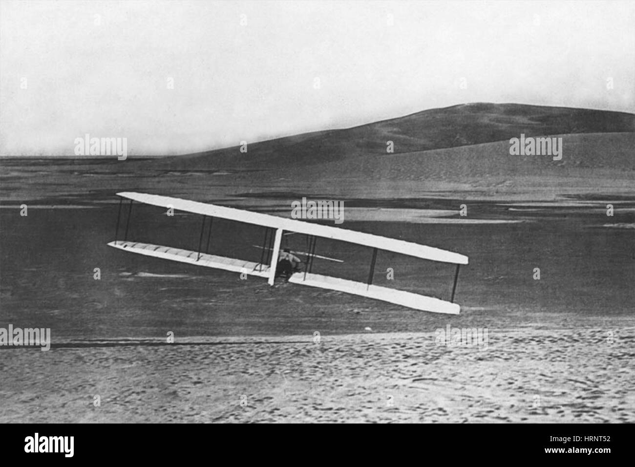 Inflight Turn with Wright Glider, 1902 - Stock Image