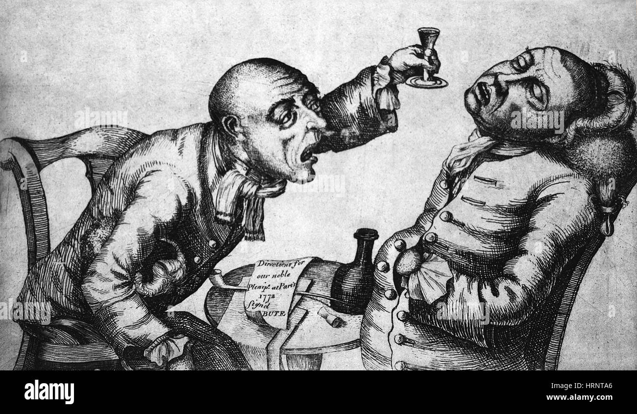 Caricature of Two Alcoholics, 1773 - Stock Image