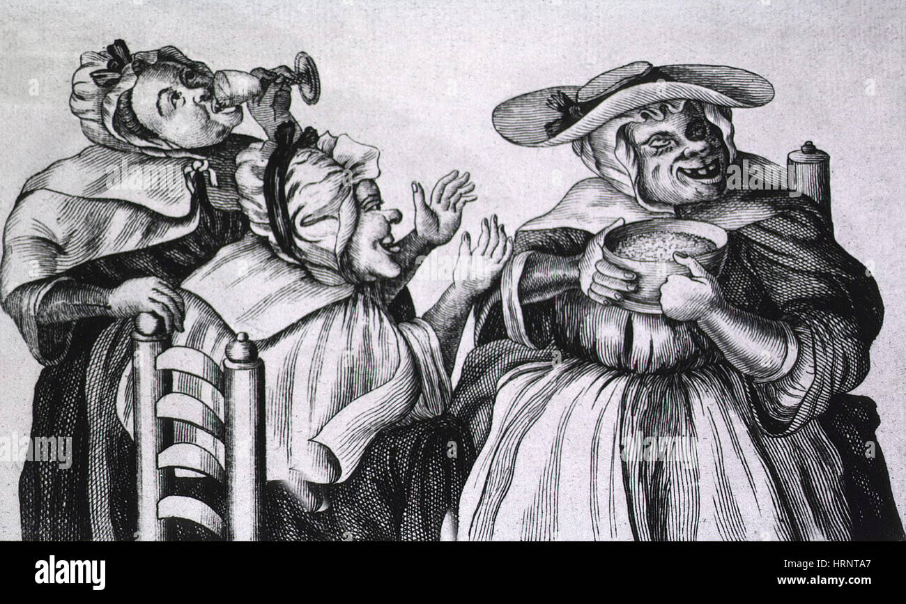 Caricature of Three Alcoholics, 1773 - Stock Image
