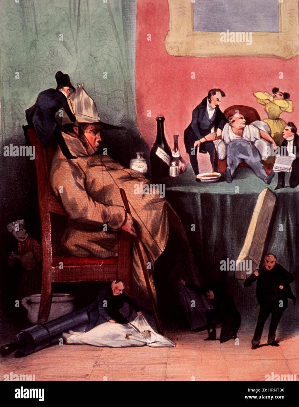 Caricature of Hypochondriac, 1833 - Stock Image