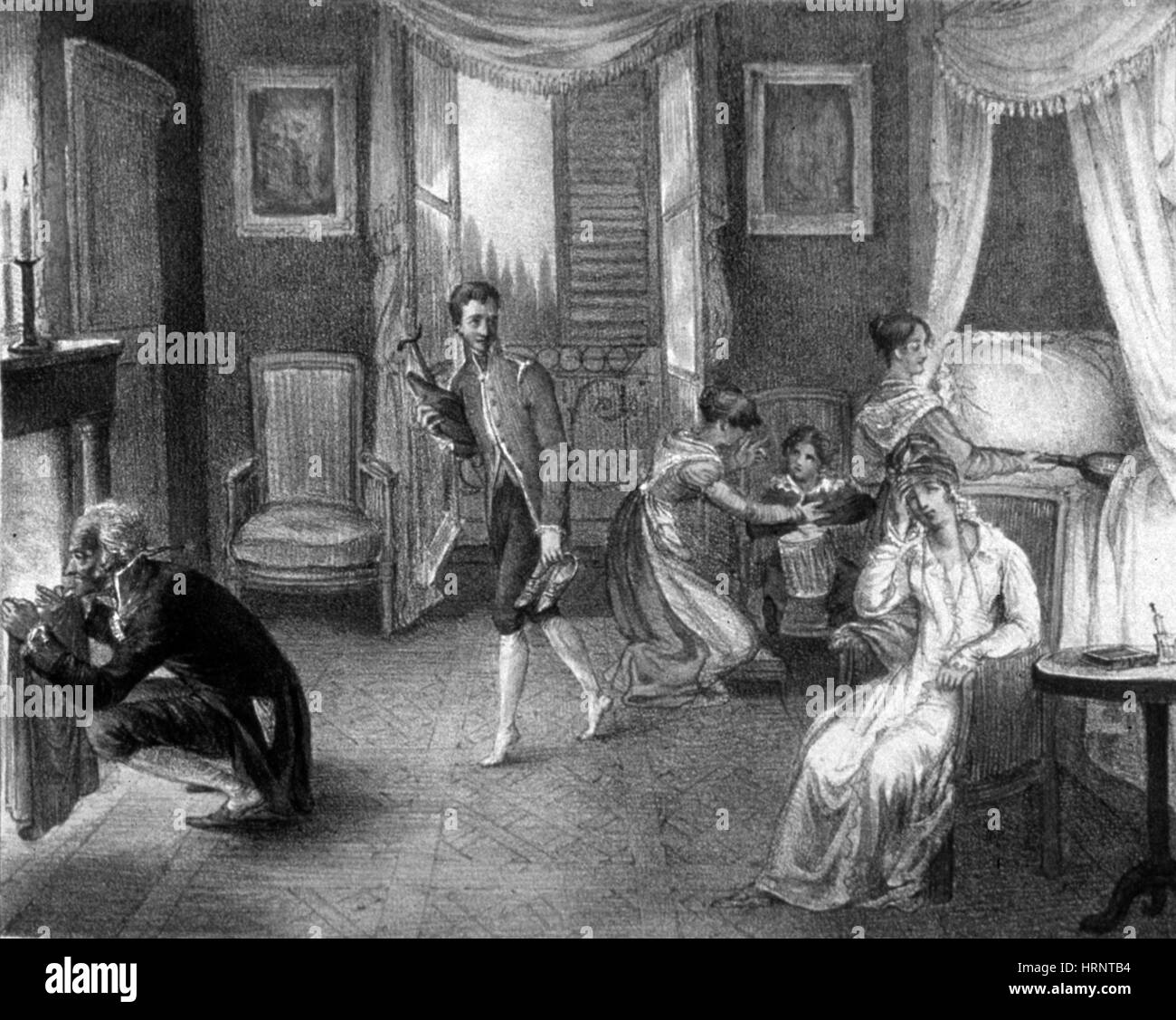 Mother with Migraine Helped by Family, 1823 Stock Photo