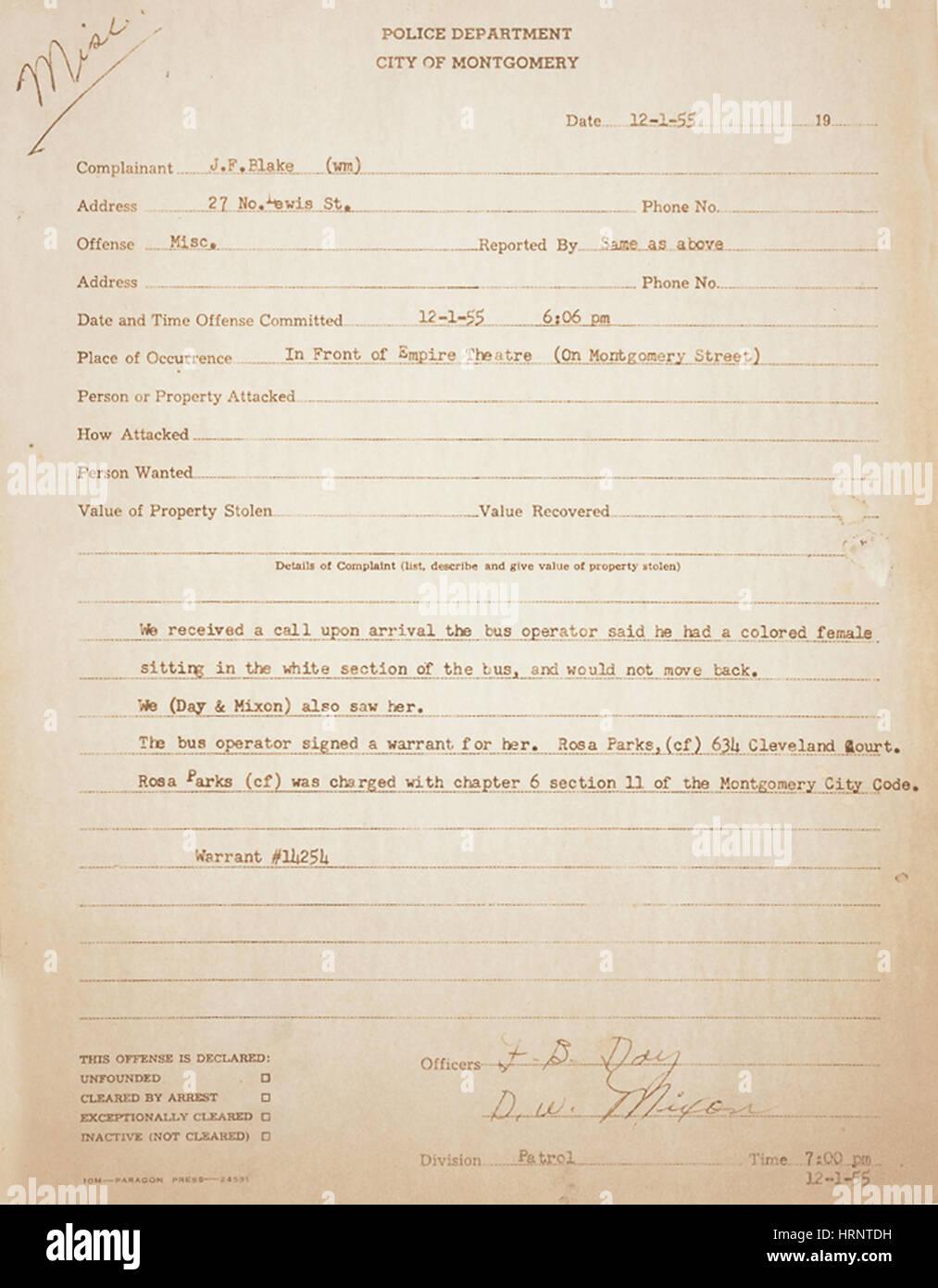 Rosa Parks Arrest Record, 1955 - Stock Image