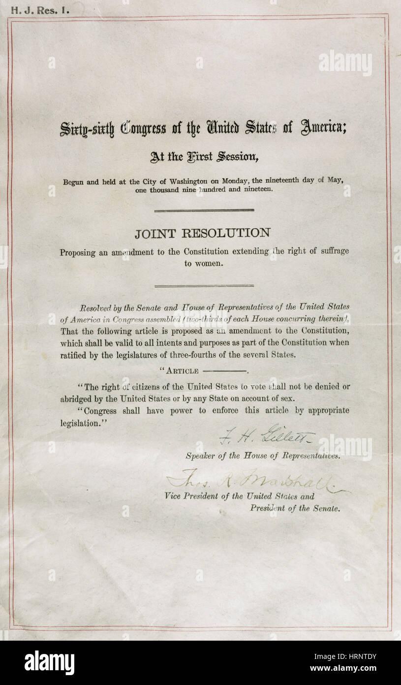 U.S. Constitution, 19th Amendment - Stock Image