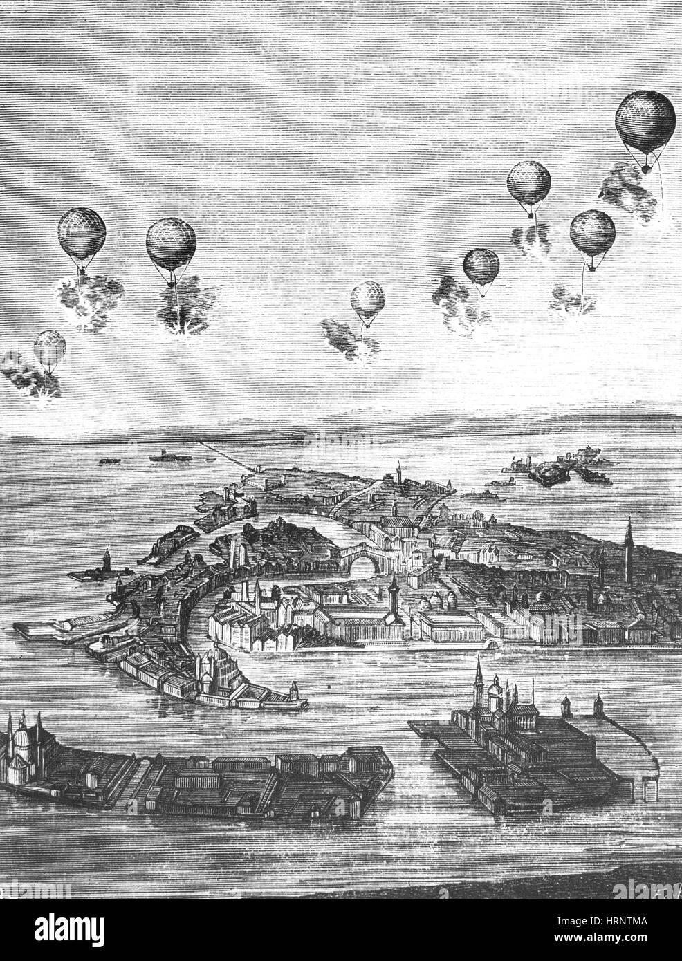 Aerial Combat, 1850 - Stock Image
