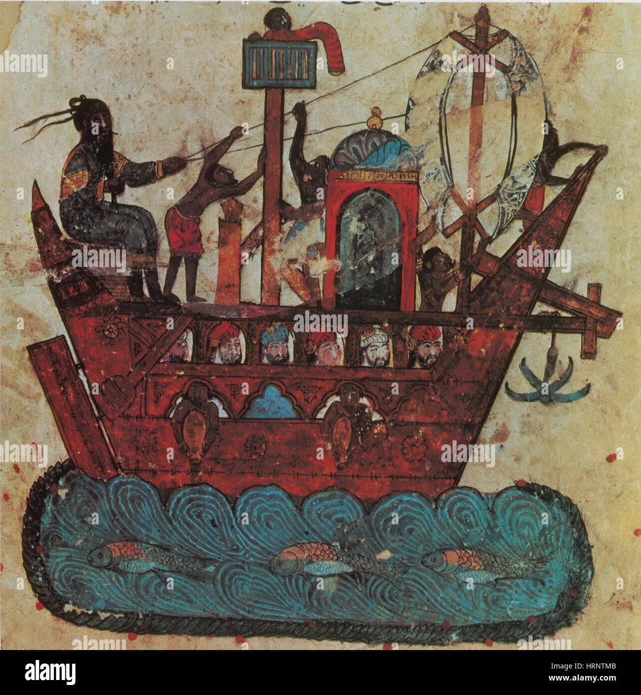 Arab Trade Ship, 13th Century - Stock Image