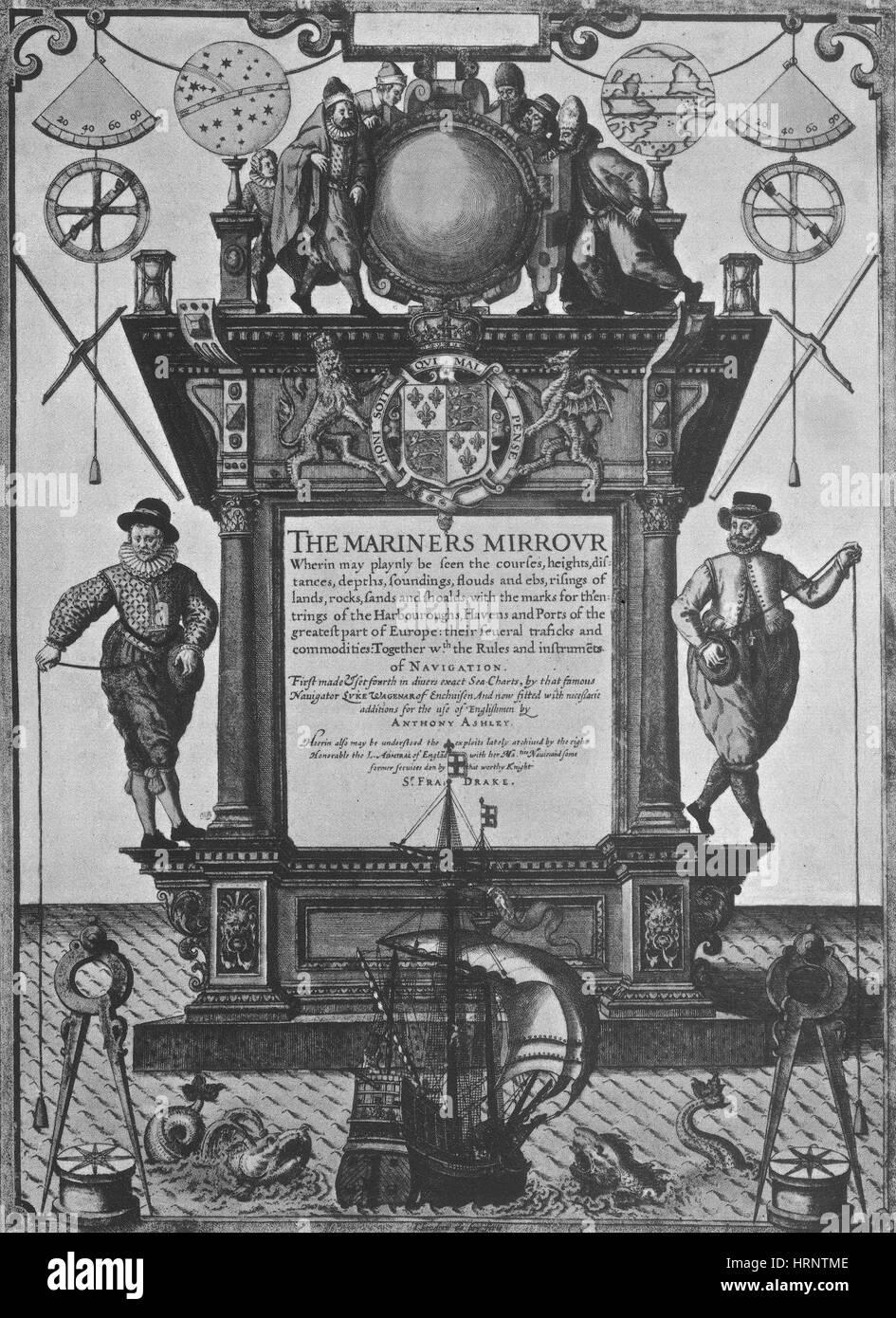 The Mariners Mirror, 16th Century - Stock Image