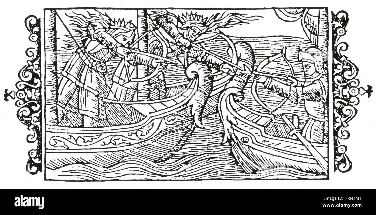 Awilda and Rusila Battle Prince Alf, 5th Century - Stock Image