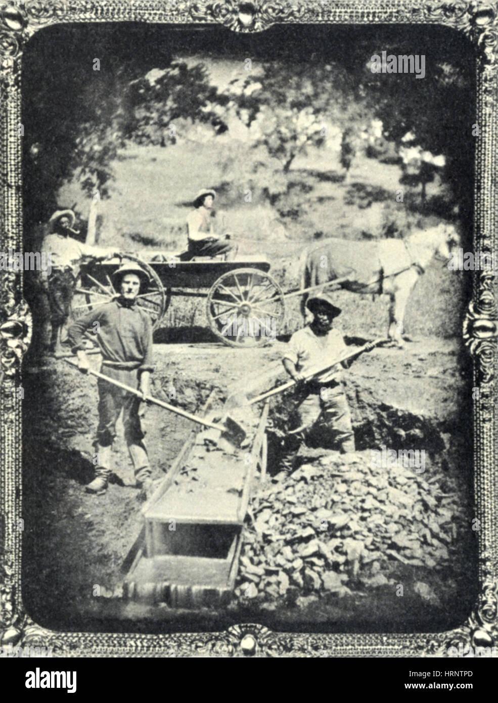 Miners, Spanish Flat, California, 1852 Stock Photo