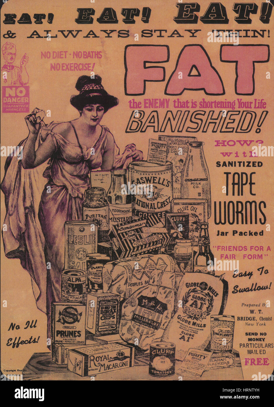 Weight Loss Ad, Sanitized Tapeworms - Stock Image