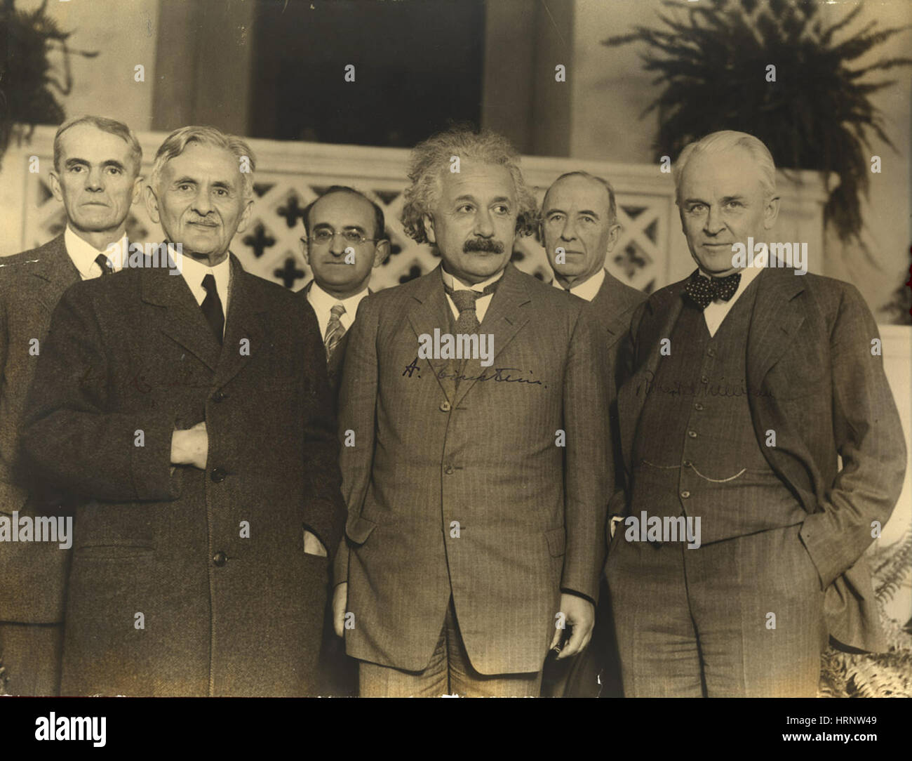 Michelson, Einstein and Millikan, 1931 - Stock Image