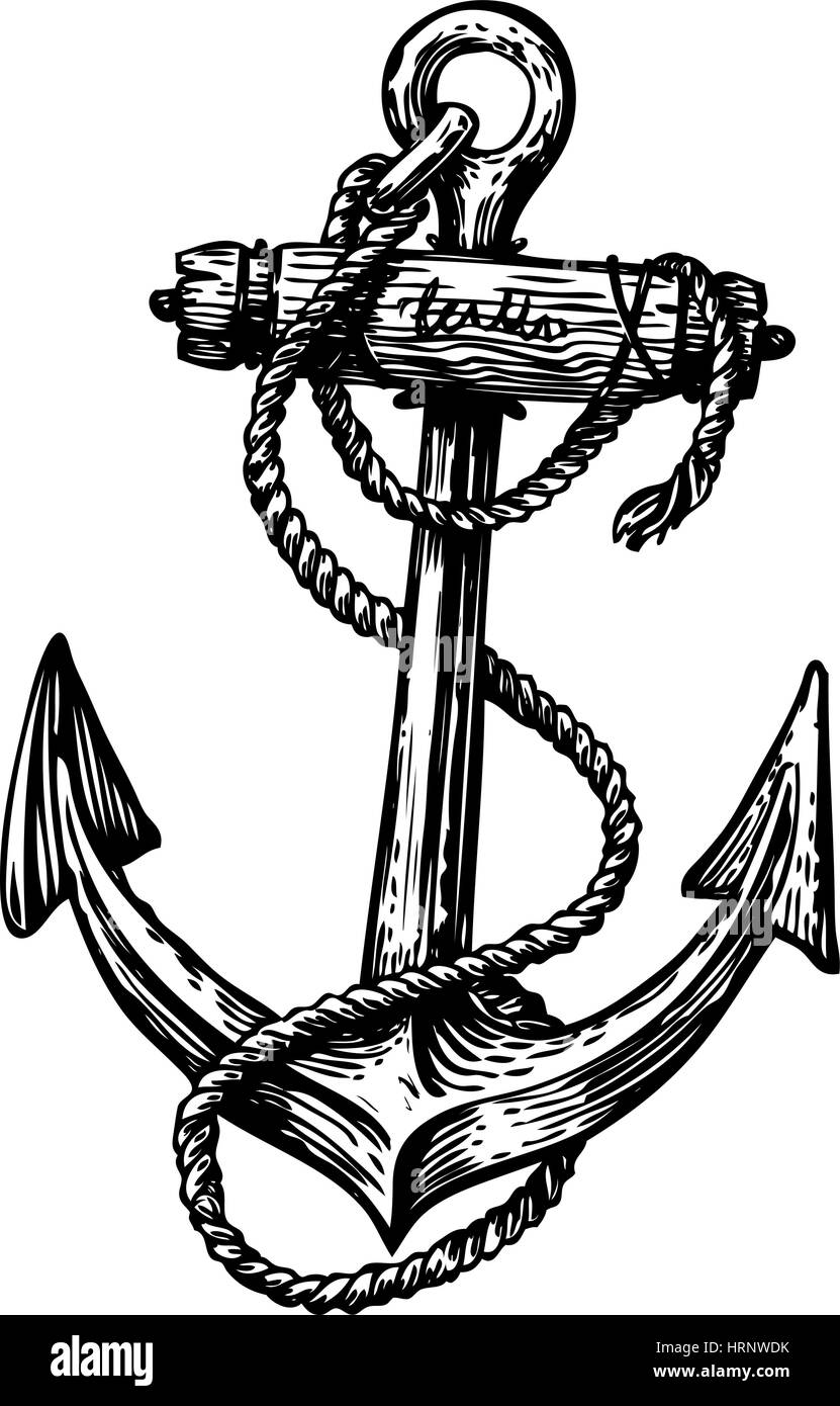 Hand Drawn Vintage Anchor With Rope Sketch Travel Discovery Cruise Symbol Vector Illustration