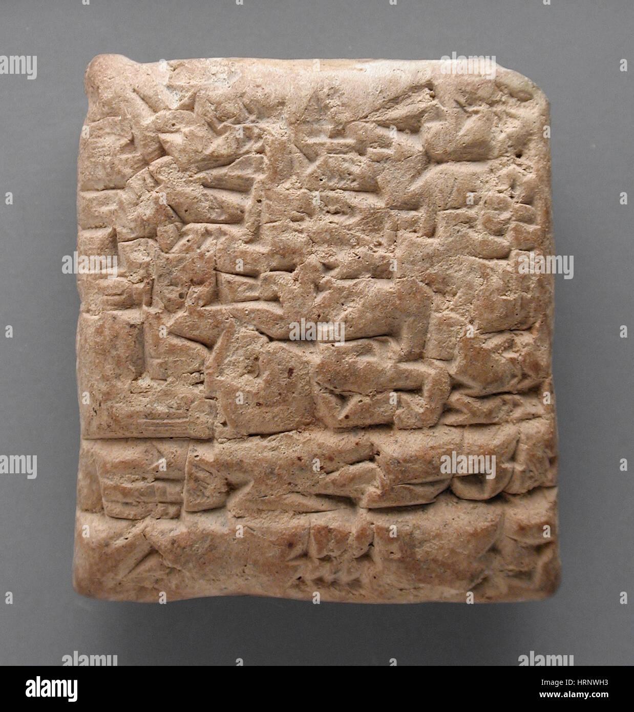 Clay Tablet, Cuneiform Inscription, 1875-1840 BC - Stock Image