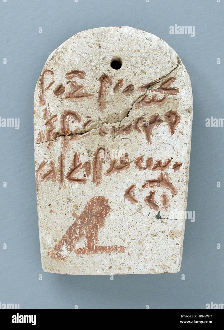 Egyptian Mummy Label, Demotic Inscription - Stock Image