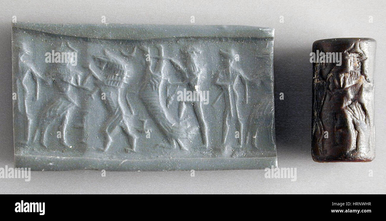 Assyrian Cylinder Seal, 1920-1700 BC - Stock Image