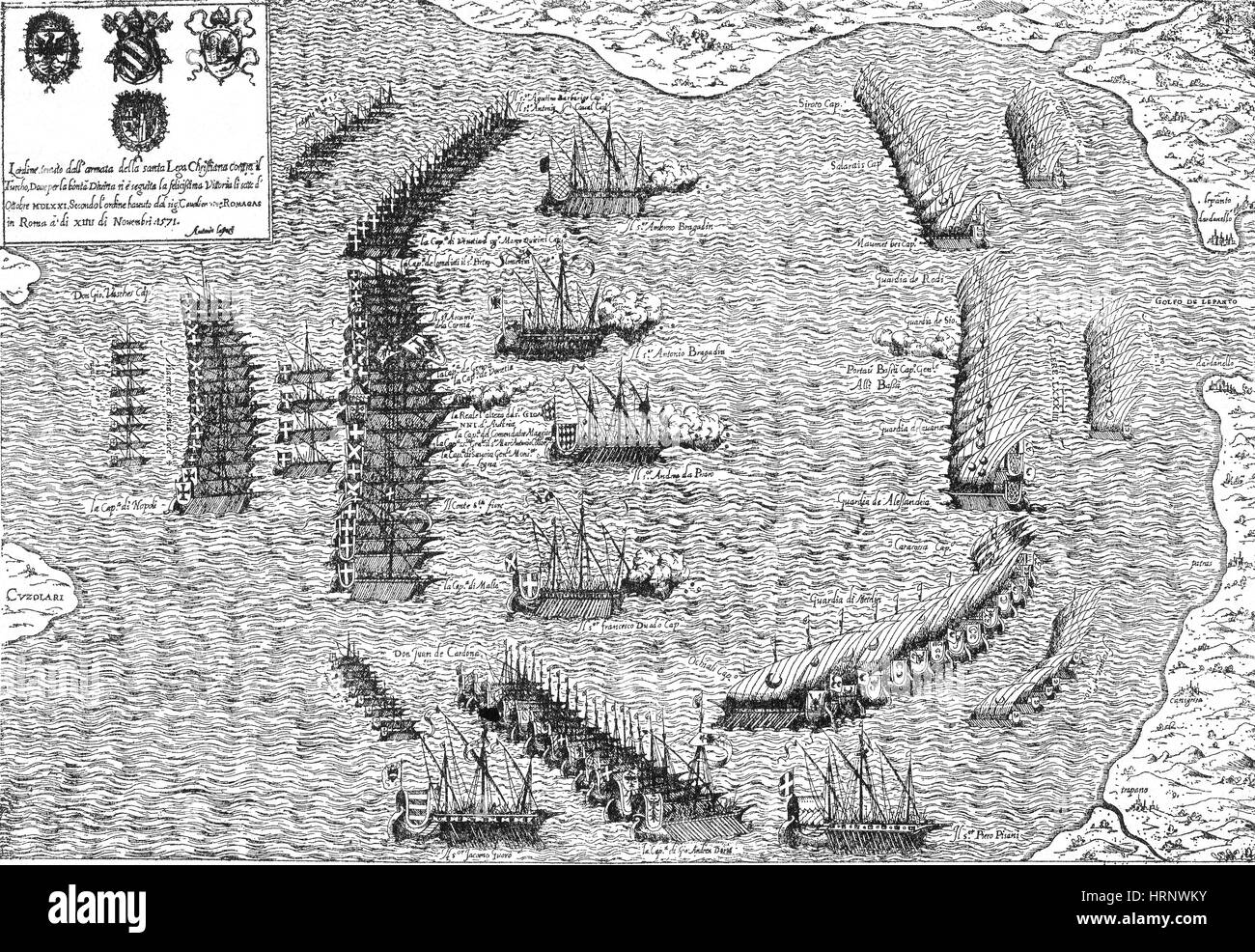 Battle of Lepanto, 1571 - Stock Image