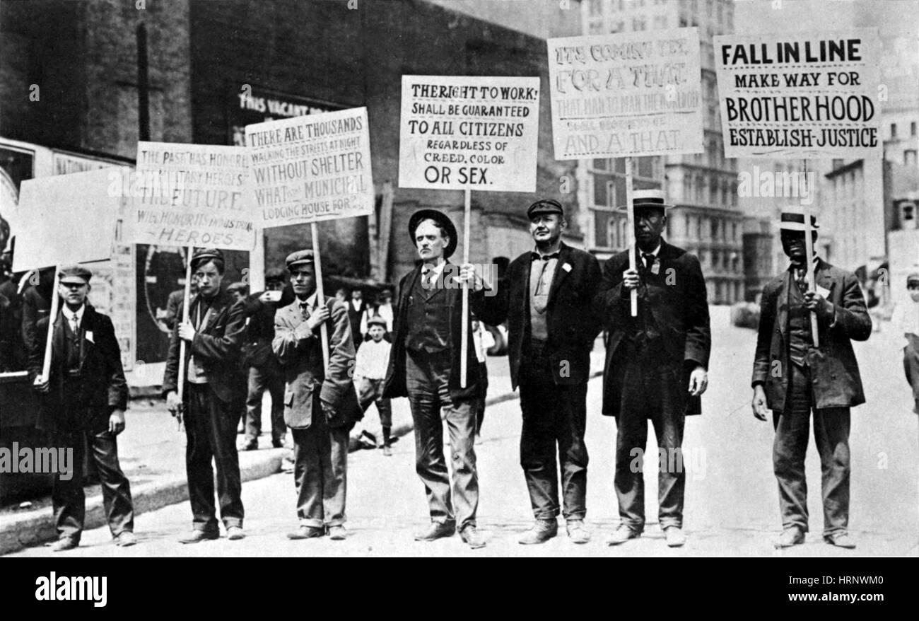 Parade of Unemployed, 1909 - Stock Image