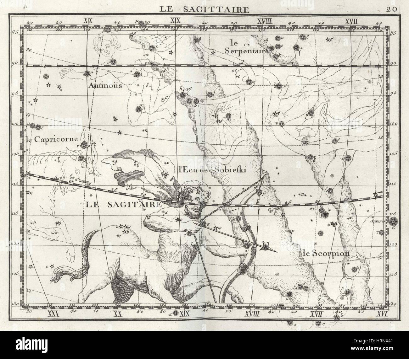 Sagittarius Constellation, Zodiac, 1729 Stock Photo
