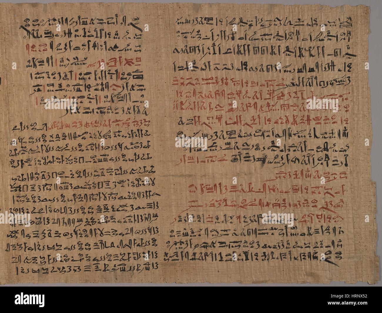 Edwin Smith Papyrus, 1500 BC - Stock Image