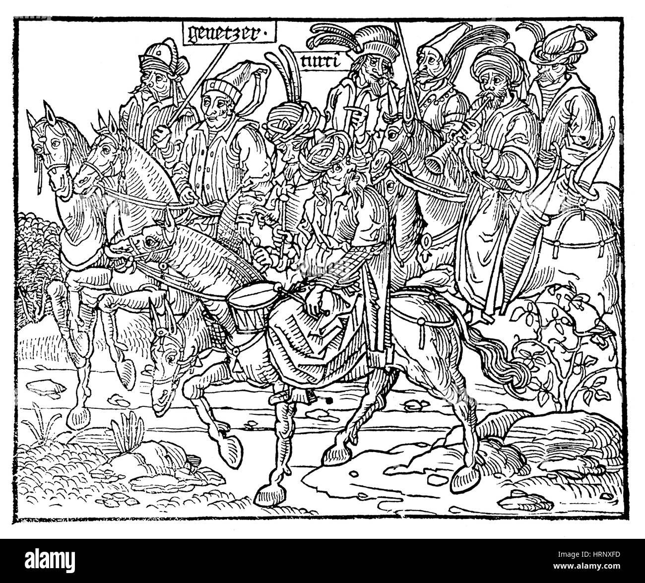 Sanctae Pereginationes, Mounted Turks, 1486 - Stock Image