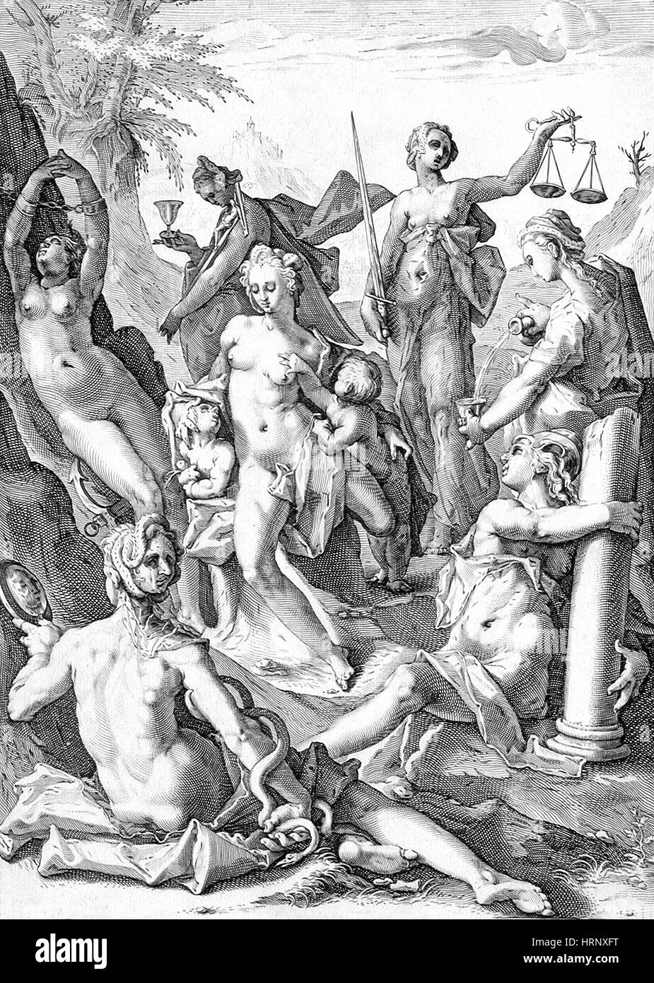 The Seven Virtues, 1588 - Stock Image