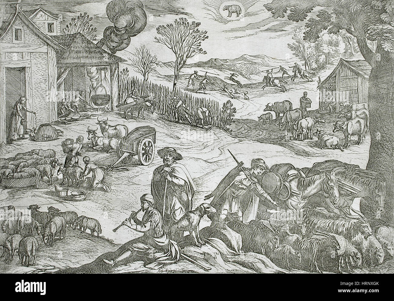 March, Peasant Activities, 16th Century Calendar - Stock Image