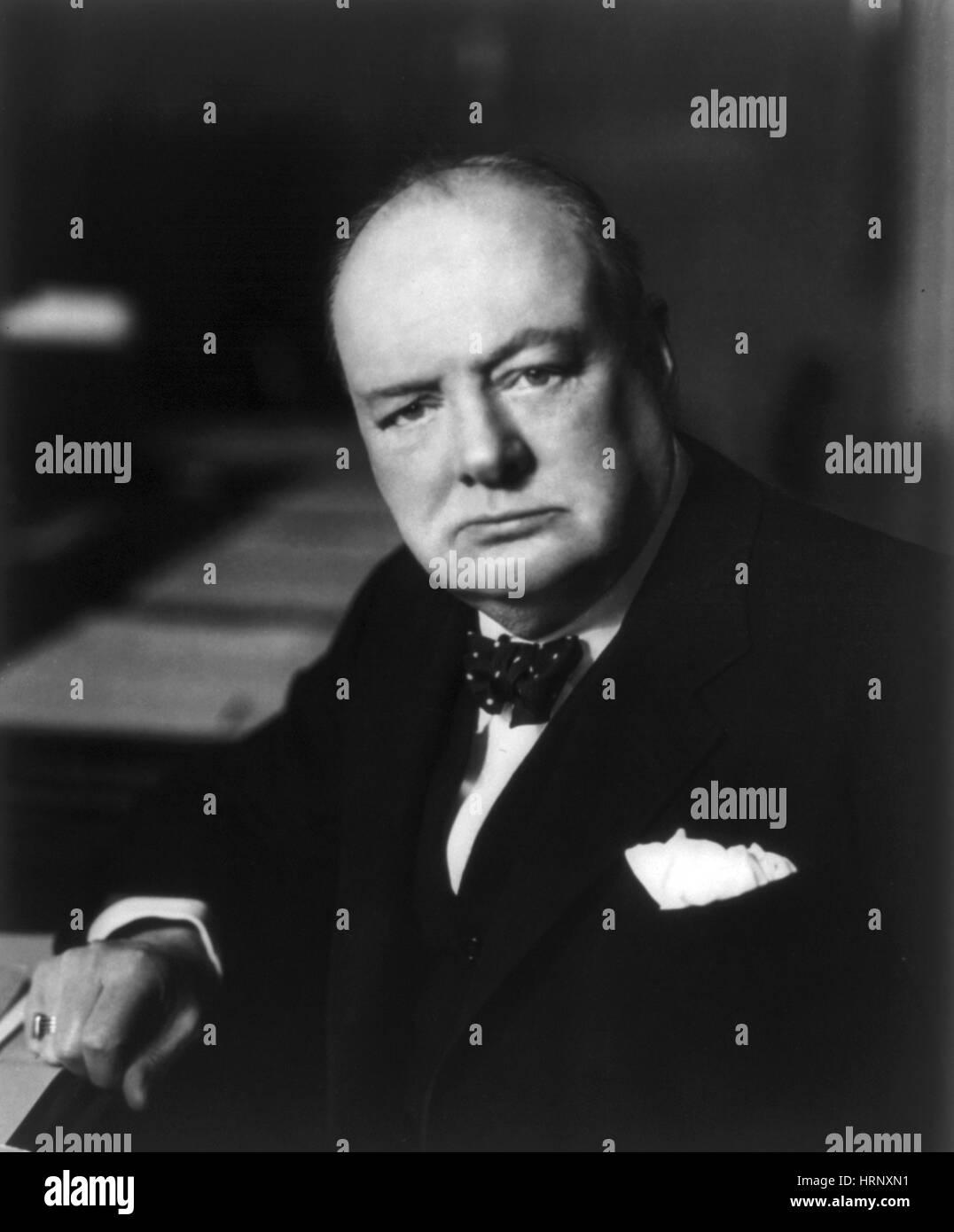 WWII, Winston Churchill, U.K. Prime Minister - Stock Image
