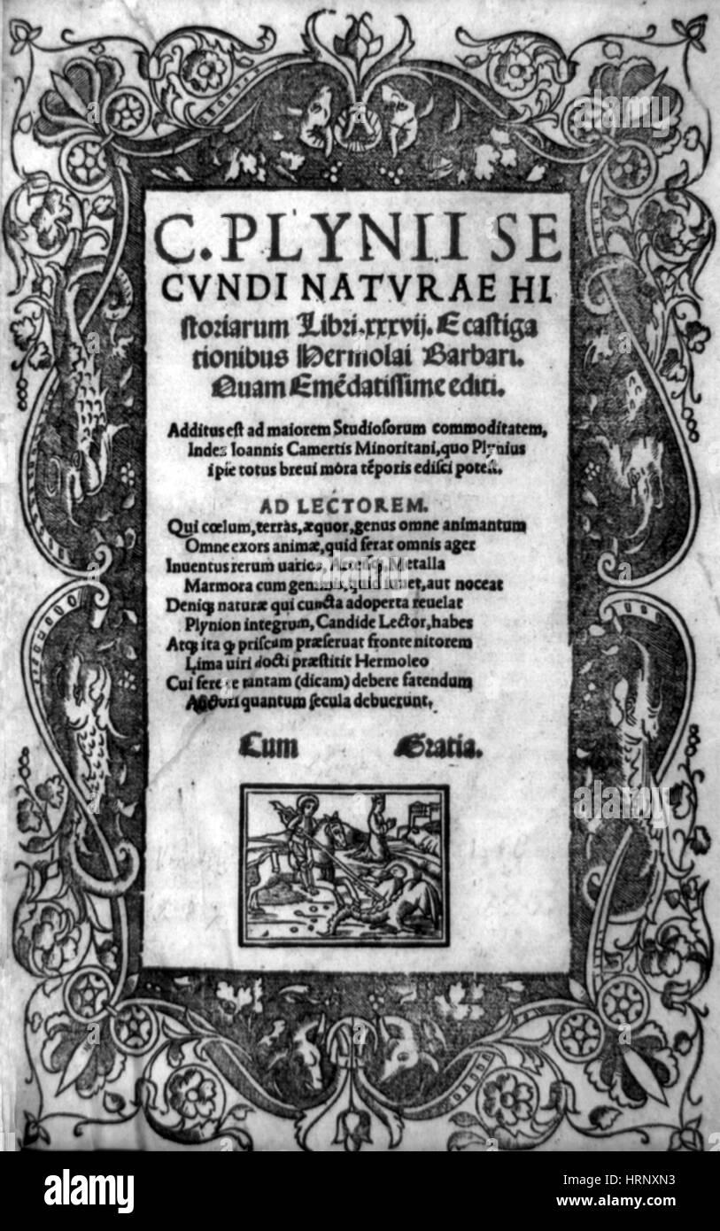 Pliny's Natural History, 1519 - Stock Image
