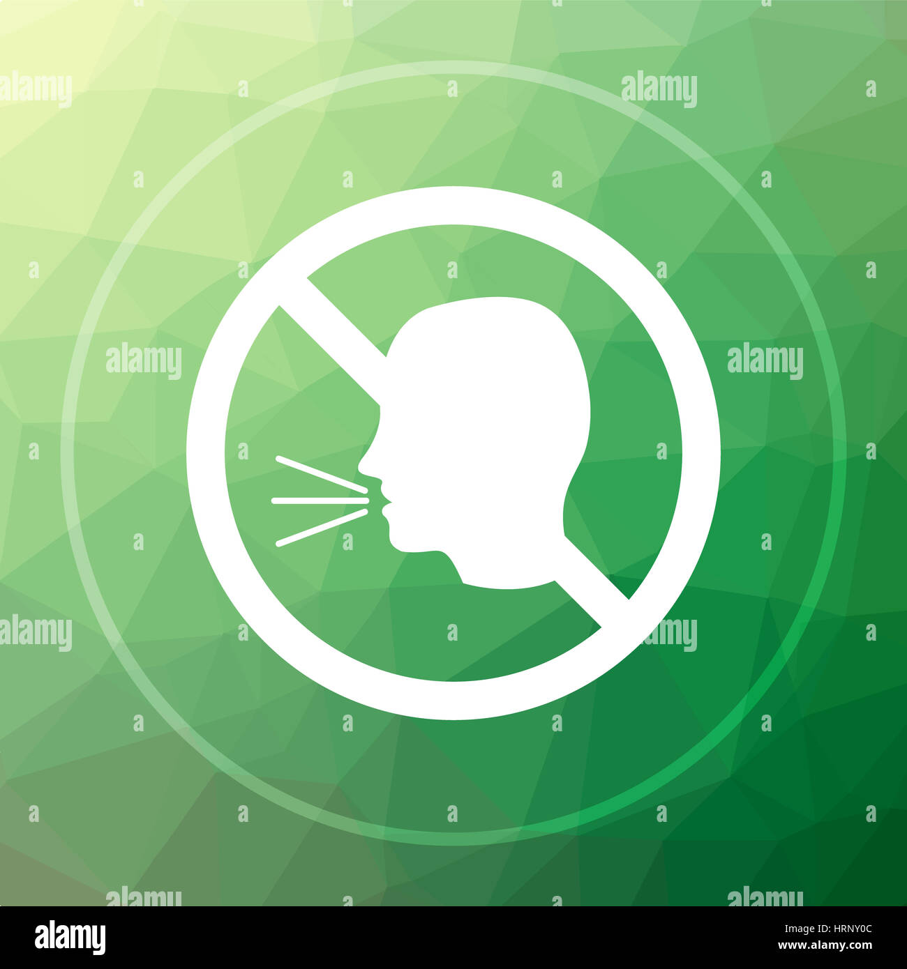 No talking icon  No talking website button on green low poly