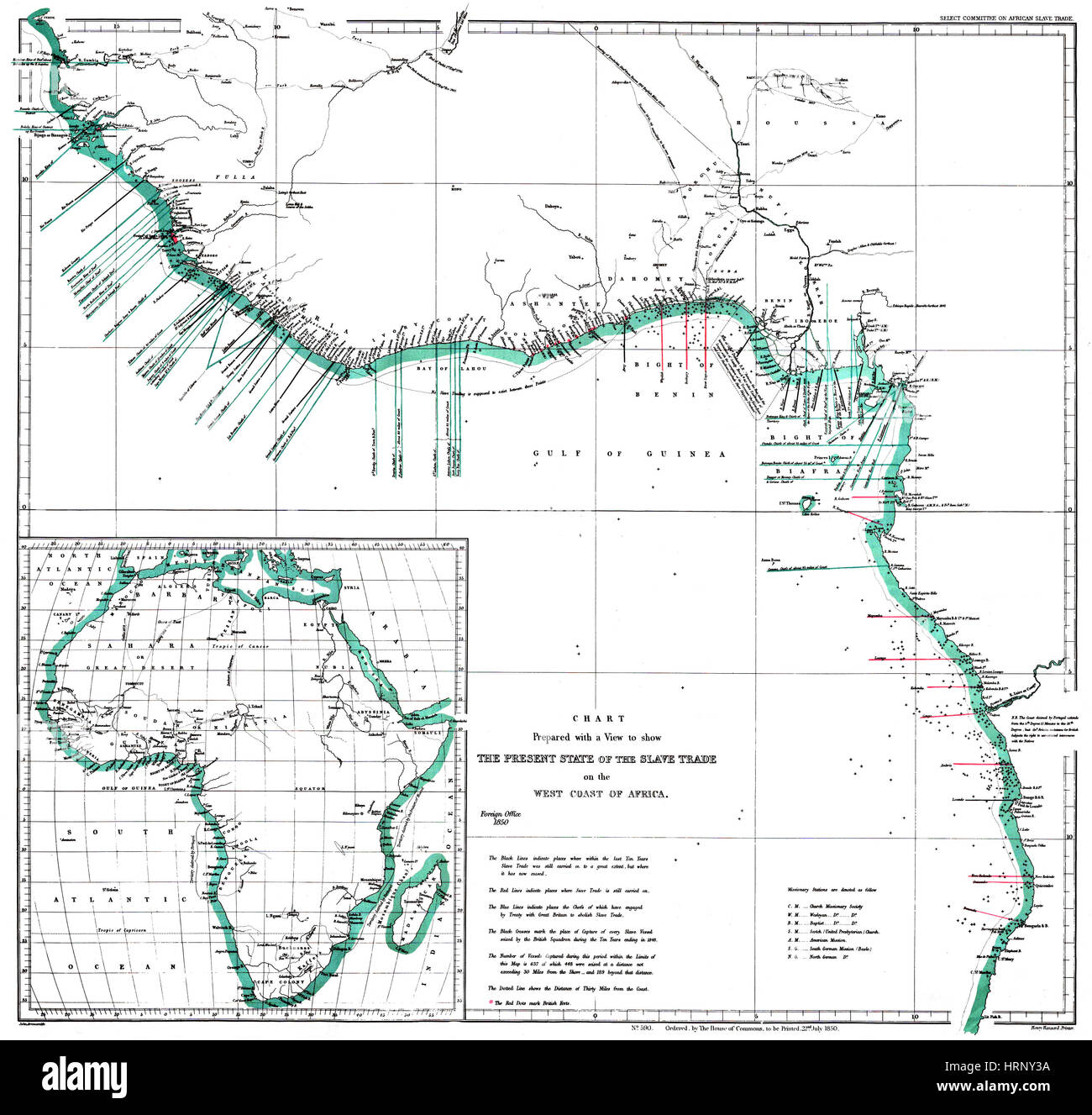 Africa Map Areas of Slave Trade, 1850 - Stock Image