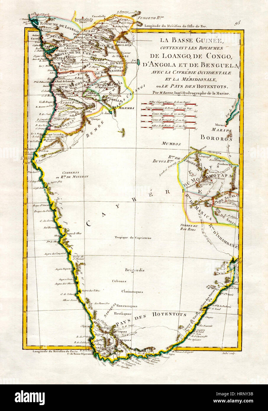 Map of Angola and the Congo, 1788 - Stock Image