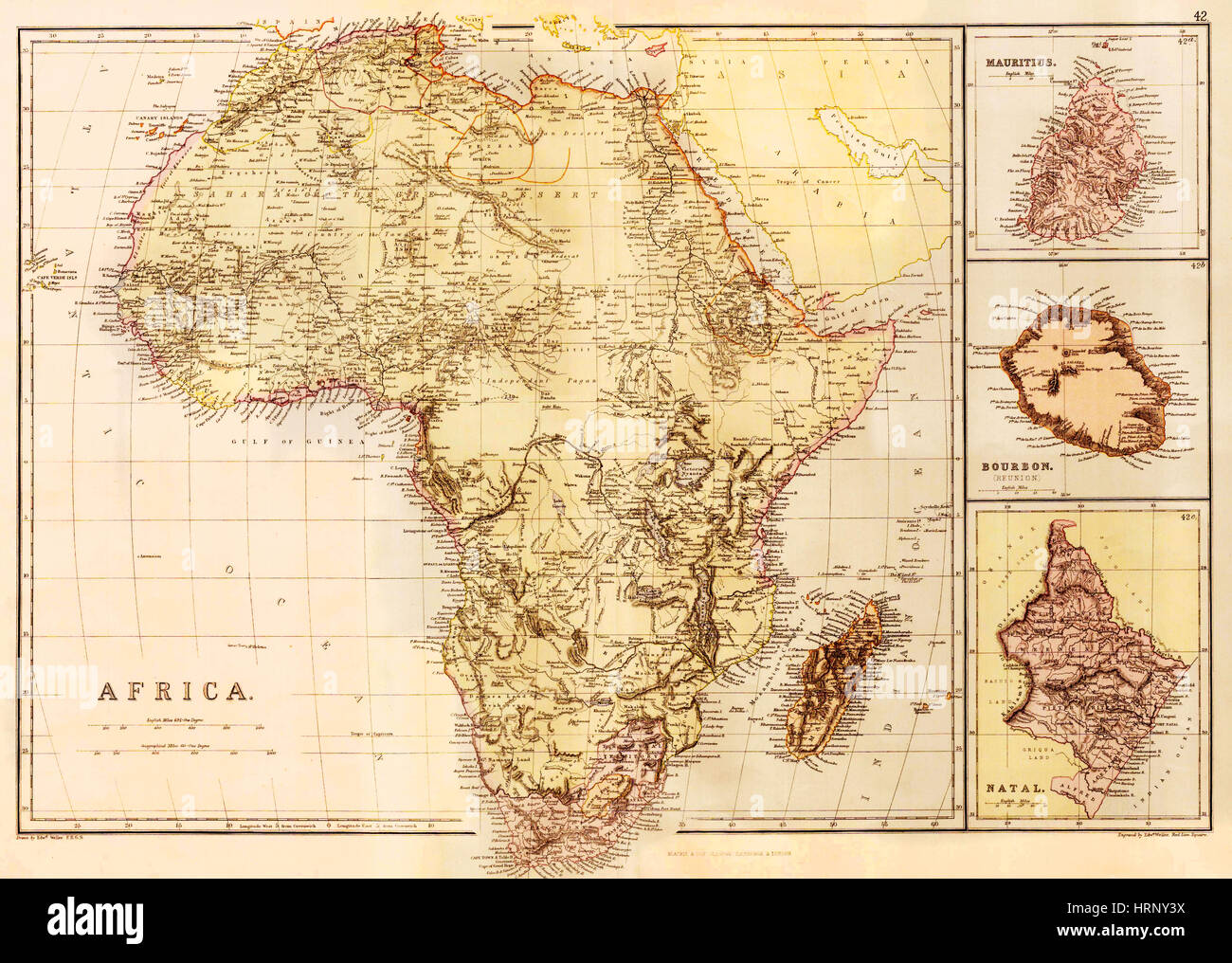 Map of Africa, c. 1850 - Stock Image