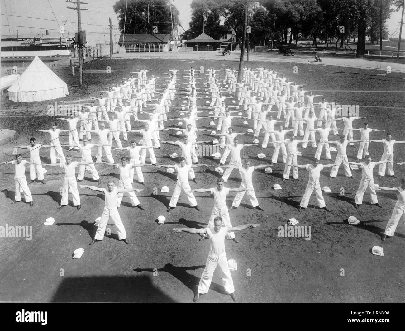WWI, Naval Militia Camp Exercise, 1918 - Stock Image
