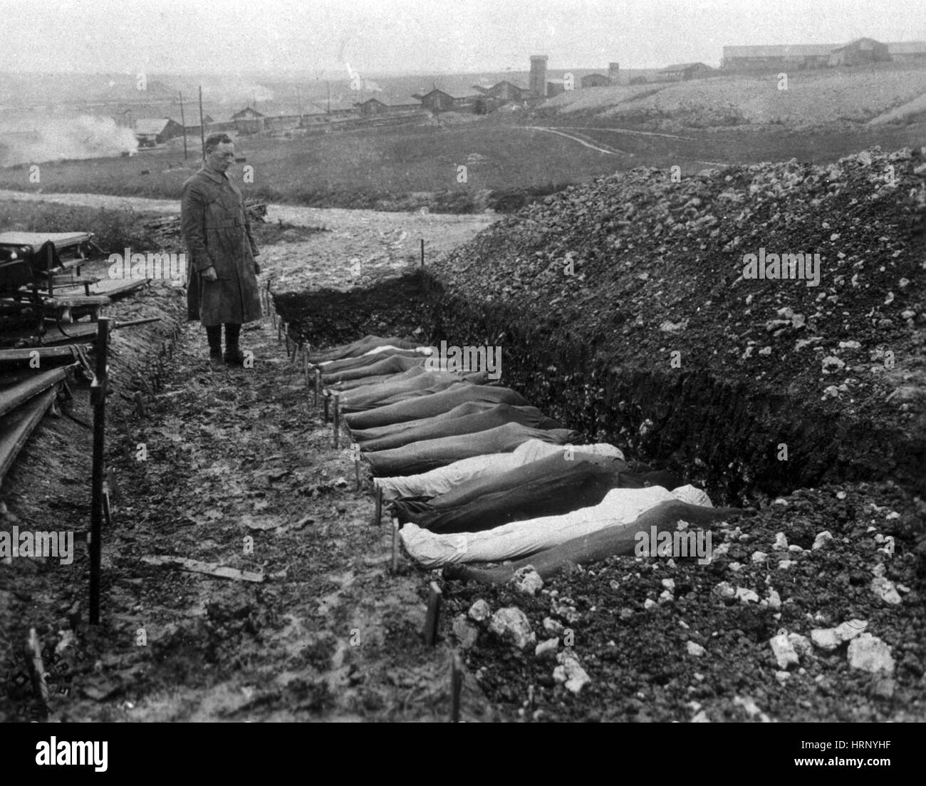 WWI, Chaplain Conducts Burial Service, 1918 - Stock Image