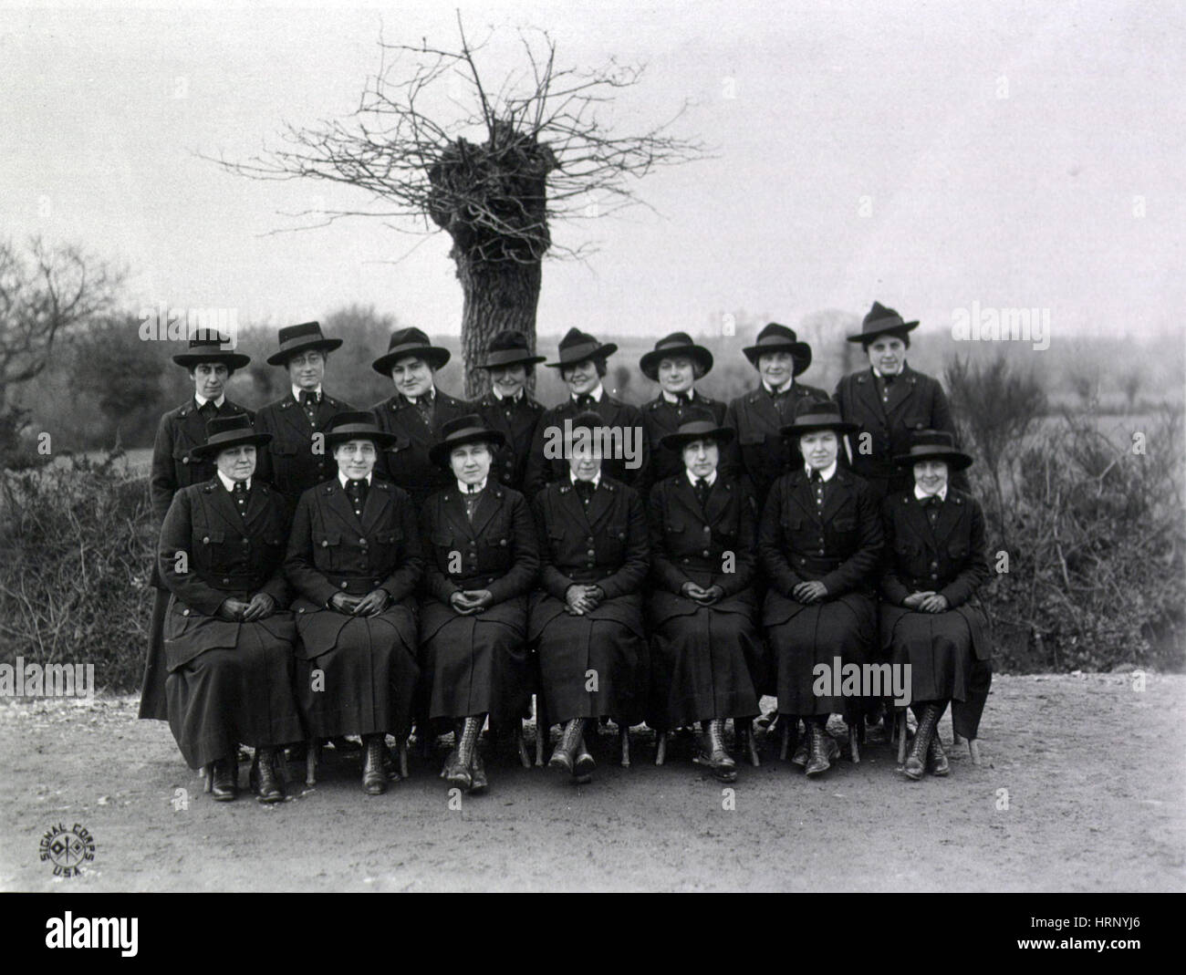 WWI, Nurses at U.S. Army Camp Hospital, 1918 - Stock Image