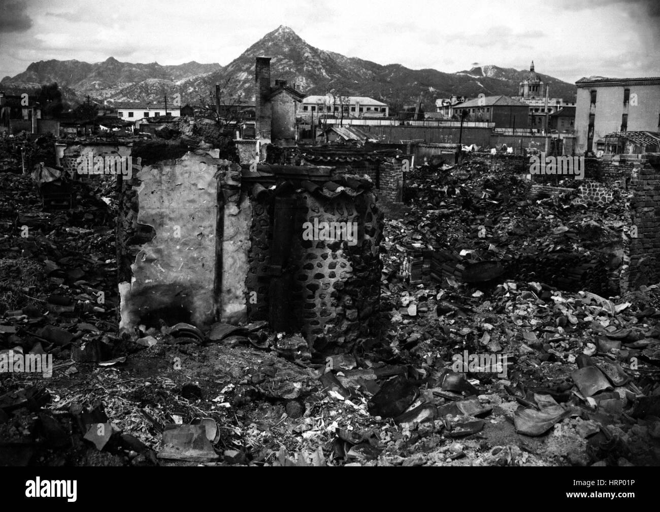 Korean War, Rubble of Seoul, 1950 - Stock Image