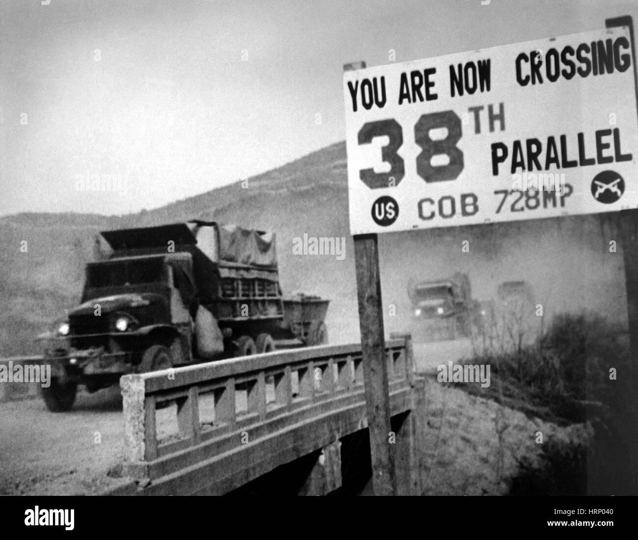Korean War, 38th Parallel, 1950 - Stock Image