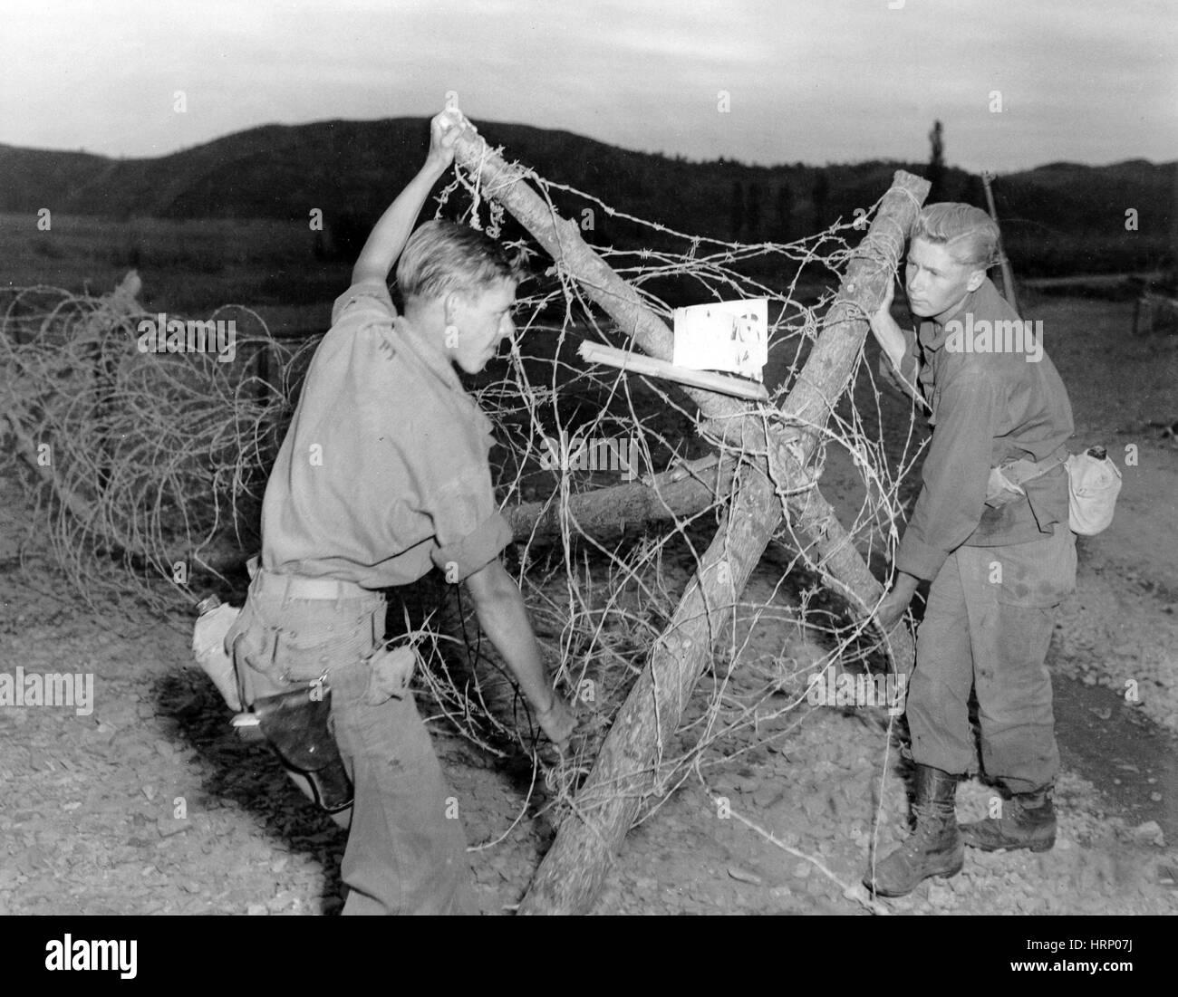 Korean War, Barbed Wire Entanglement, 1951 - Stock Image