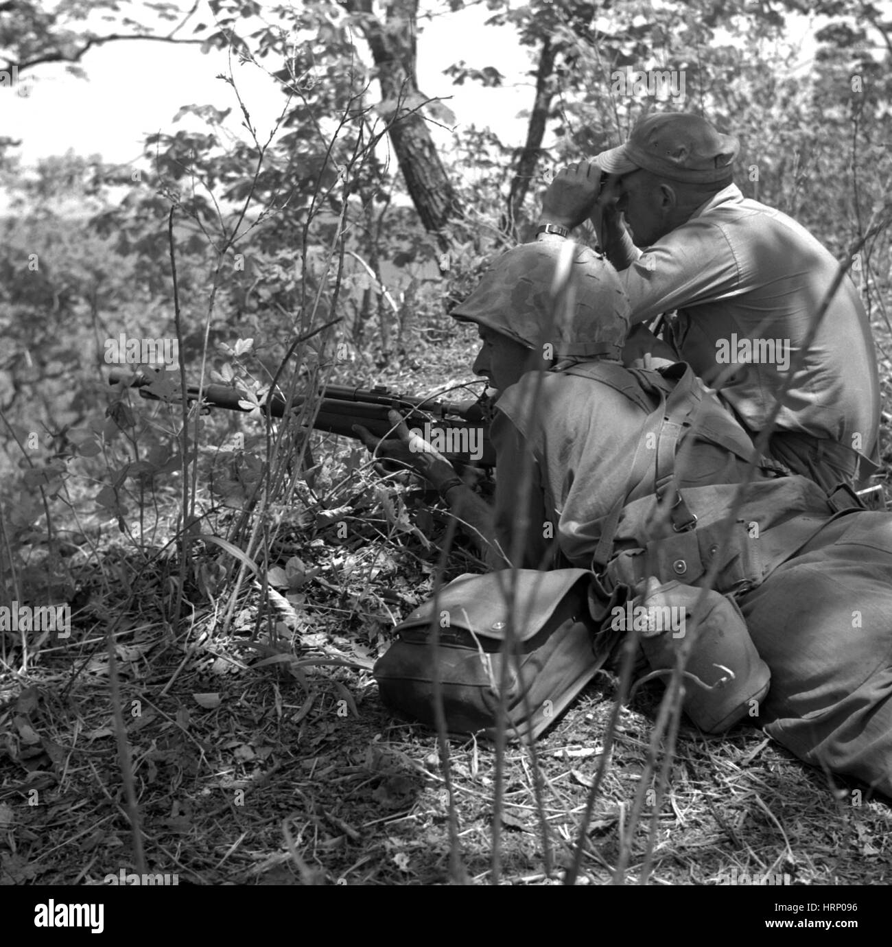 Korean War, USMC Sniper and Spotter - Stock Image
