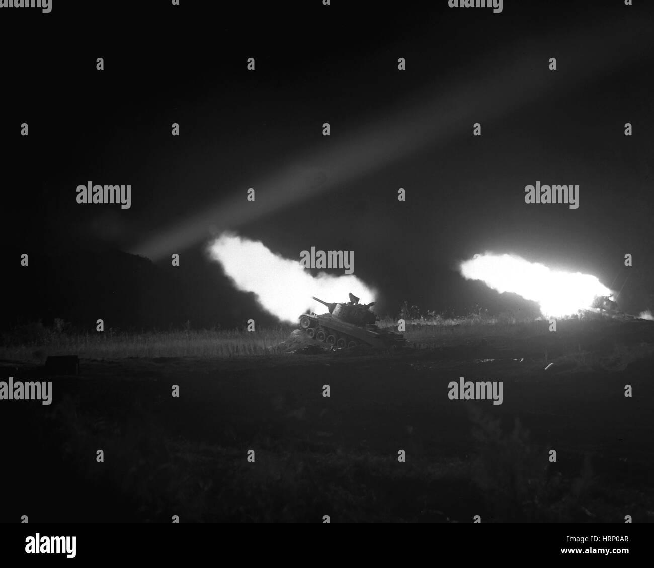 Korean War, Tank Battalion on Night Mission - Stock Image
