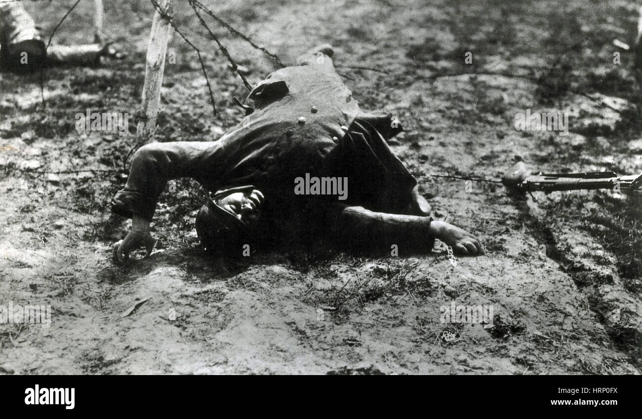 WWI, Dead French Soldier - Stock Image