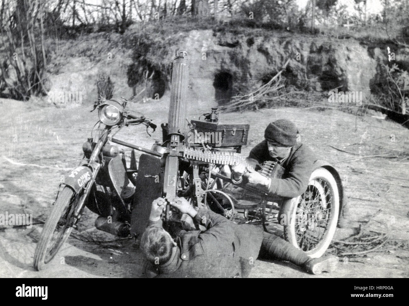 WWI, BEF Motor Machine Gun Service Stock Photo