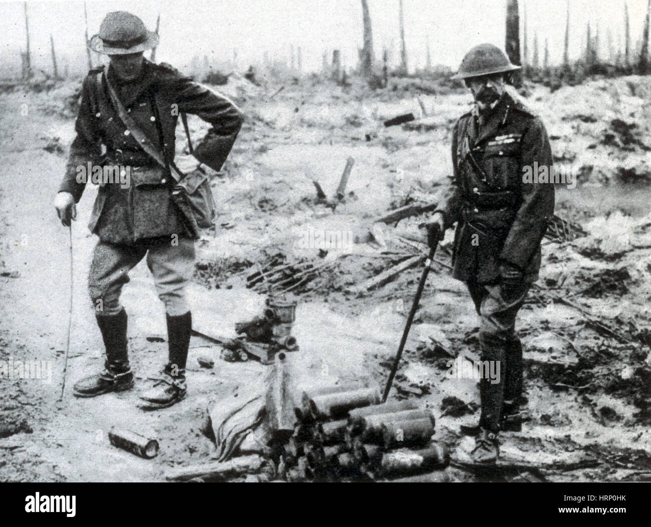 WWI, King George Visits the Western Front, 1917 - Stock Image