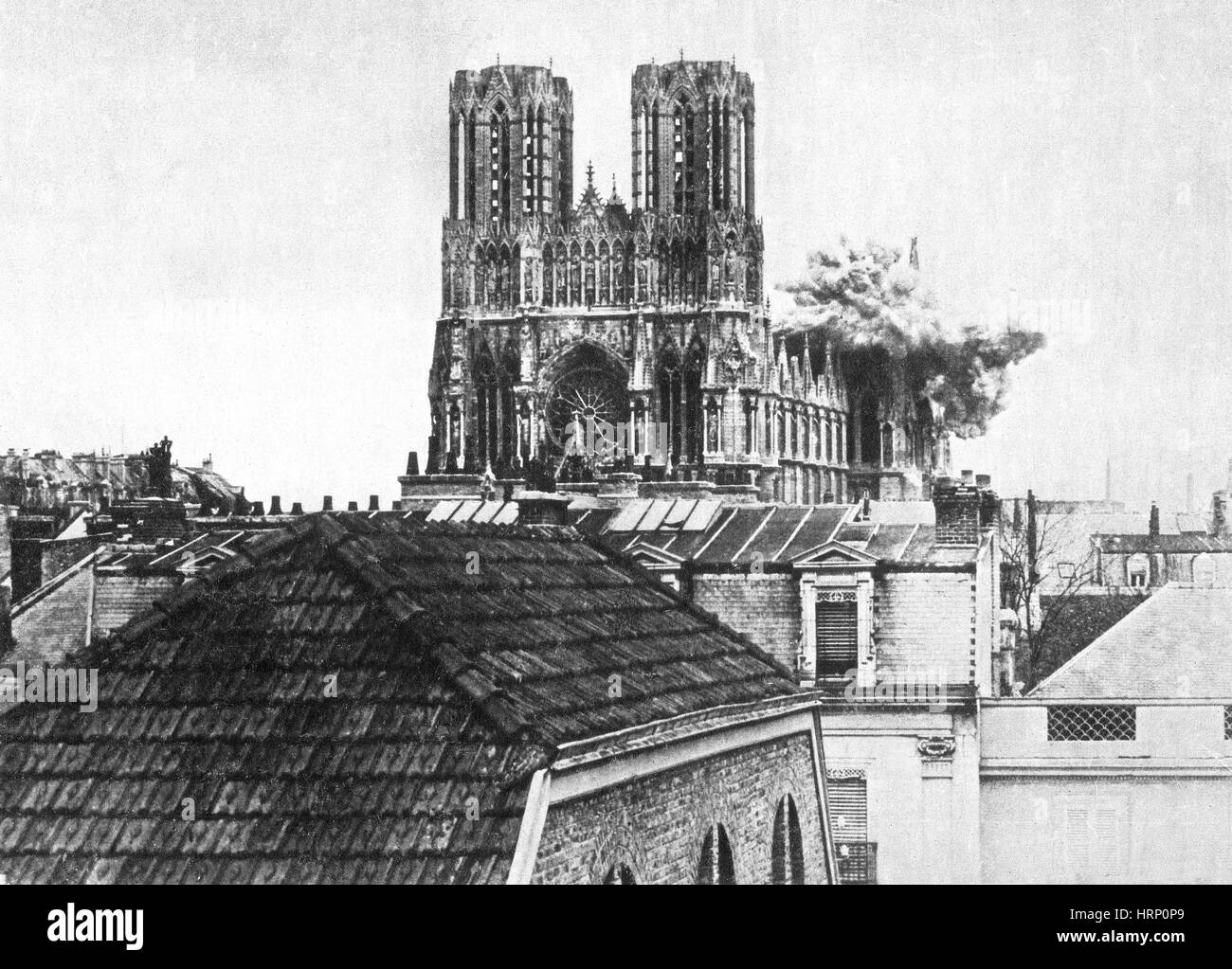 WWI, Direct Hit, Reims Cathedral, 1914 - Stock Image